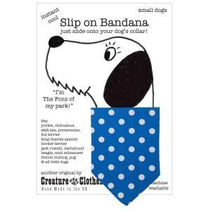 Slip on dog bandana dotty blue
