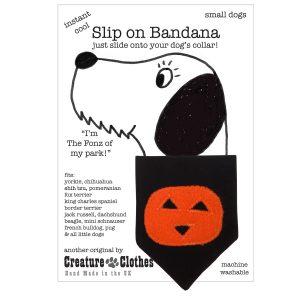 Slip on Dog bandana with Halloween pumpkin