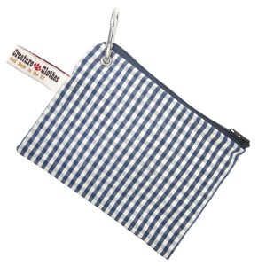 blue gingham treats pouch