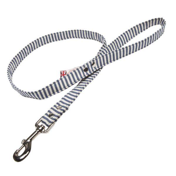 Blue & white stripe vegan dog lead