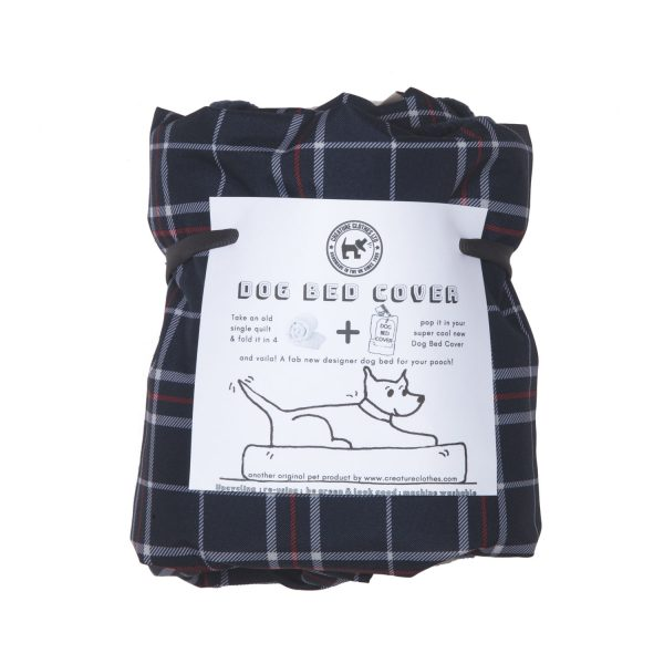 Eco Dog Bed Cover Waterproof Blue Check