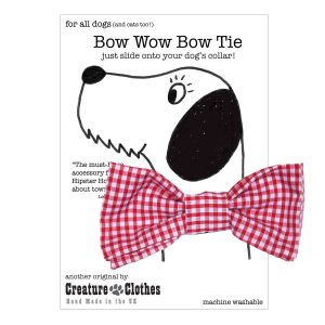 Red gingham slip on dog bow tie