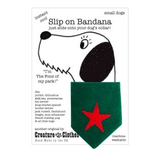 Christmas Festive Dog Bandana with Red Star on Green