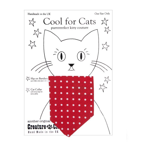 Cat Bandana red with white dots