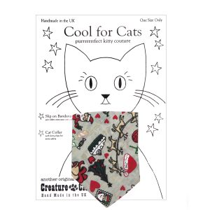 Cat Bandana in Christmas Santa print