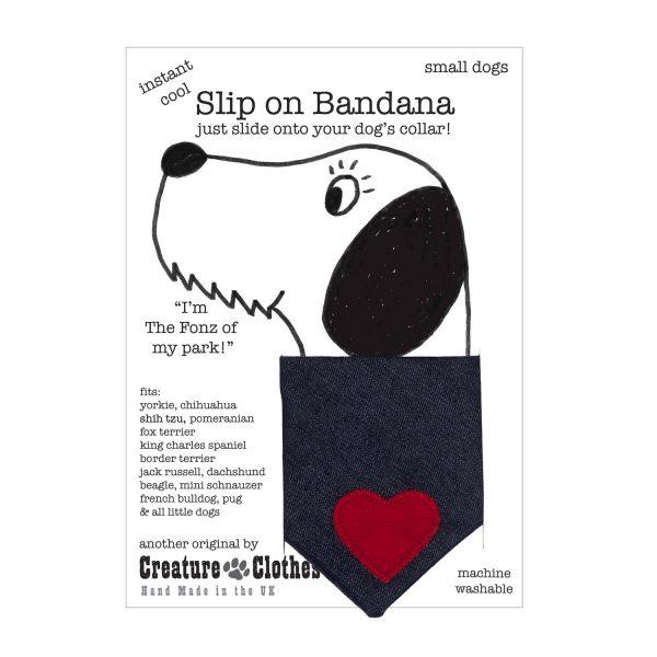 Slip on Dog Bandana denim with red heart