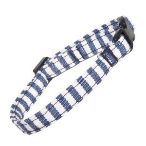Blue and White stripe Cat Collar