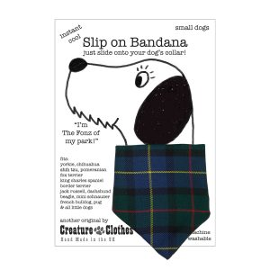 Green tartan Dog slip on bandana