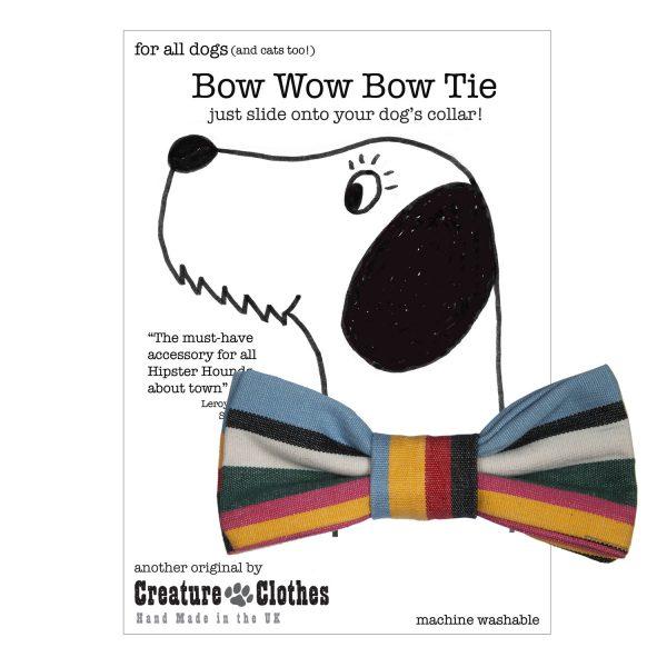 Pink Deckchair Striped dog Bow Tie