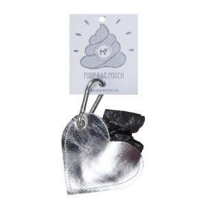Silver heart leather dog poo pouch