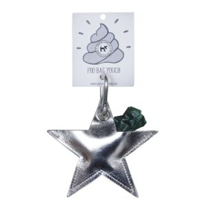 Star Dog Poo Pouch - Silver Leather
