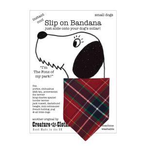 Slip on dog bandana Red Tartan
