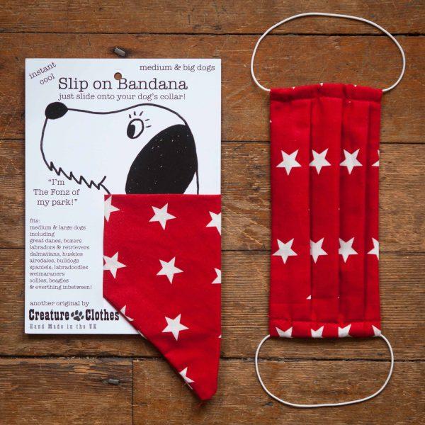 Red Stars - Face Mask & Matching Dog Bandana