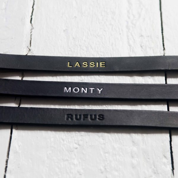 Personalised black leather dog collars embossed with your dog's name