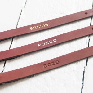 Personalised tan leather dog collars embossed with your dog's name