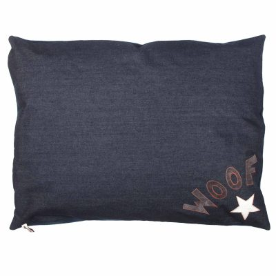 New Denim Dog bed with grey woof and white silver star