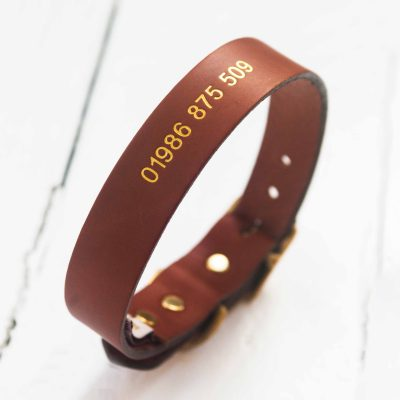 Personalised tan leather dog collar embossed with contact number