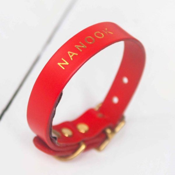 Personalised red leather dog collar embossed dog's name gold