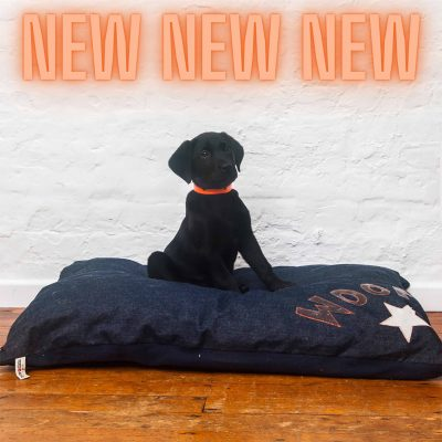 Dog Bed Denim Woof and Star